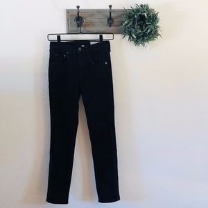 Rag & Bone Black Leather Justine Crop Jeans 26